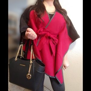Jackets & Blazers - Two Tone Belted Poncho Cape